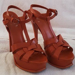 YSL Tribute Cognac Sandals